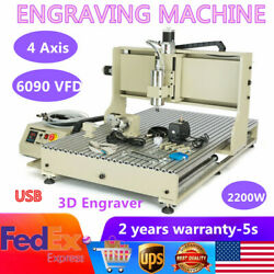 4axis Cnc 6090 Router Engraver Usb Vfd Metal Carving Drill Milling Machine 2.2kw