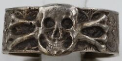German Ring Skull Bones Sterling Silver 800 Ww1 Wwi Or Ww2 Wwii Army Special For