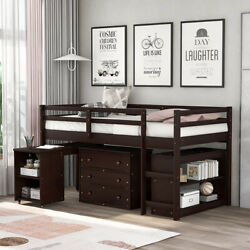 Twin Size Wood Low Loft Bed W/rolling Portable Desk Cabinet House Storage Drawer