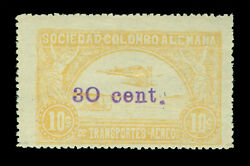 Colombia 1921 Airmail Scadta Junkers Hydroplane 30/10c Sc C37 Mint Lh Xf And Rare