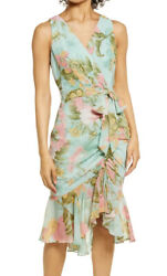 New Eliza J Floral Wrap Front Sleeveless Dress Retail 148.00 Nordstrom $48.00