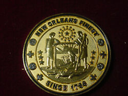 New Orleans Police Challenge Coin Since 1796 Vtg Old Nightwatch Katrina Htf