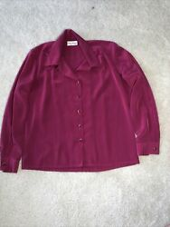Philippe Marques Petites Magenta Fuschia Pink Button Up Blouse Size 8 USA Made $25.00
