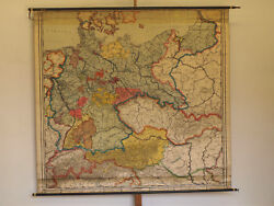 Wall Map German Rich 86 5/8x80 11/16in 1927 Vintage Empire Germany