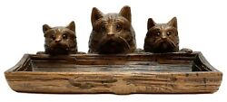 Hand Carved Wood Terrier Dog Pen Tray Ink Well Ink Stand Early 20th C