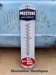 Vintage Prestone Anti Freeze Porcelain Thermometer / Sign - Gas And Oil -