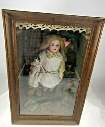 Vintage Miniature Porcelain Doll With Toys In Wooden Display Case