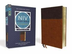 Niv Study Bible, Fully Revised Edition, Large Print, Leathersoft, Brown, Red...