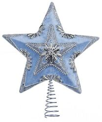 Kurt Adler Blue And Silver Beaded Star Tree Topper Holiday 13.5 Inch