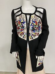 Vintage Karl Lagerfeld Black Hand Beaded Jacket With Nude Cutouts Fr 46