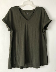 New J. Jill 1x 2x Pima Slub-knit S/s V-neck Tee Knit Top Cotton Olive Green