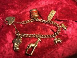 Stunning Rose Gold Solid Charm Bracelet.6 Charms And Padlock 9 Ct/k/carat. 45.66