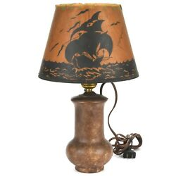 Arts And Crafts Roseville Pottery Blended Lamp W/galleon Ship Parchment Shade 1917