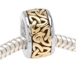 22k Gold Plated Trinity Celtic Knot On Silver Bead Fits European Style 1 Pc