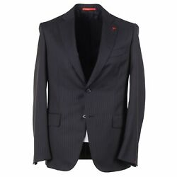 Isaia Modern-fit 'base Gregory' Black Stripe 130s Wool Suit 38r Eu 48 Nwt