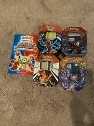 Pokemon Cards 4 Tins And A Book