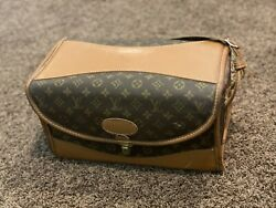 Louis Vuitton-french Company Vintage Train Case Make-up Cosmetic Bag Rare.