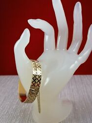 Luxurious Heavy 9k Carat Yellow Gold Bangle Diamond Cutting And Safety Chain 23g