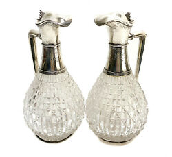 Pair Gorham Sterling Silver Overlay And Cut Glass Aesthetic Decanters, 1884