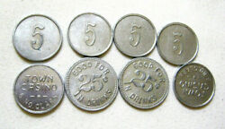 8 - Old Town Casino Chicago Illinois Aluminum 5 And 25 Cents Trade Drink Tokens