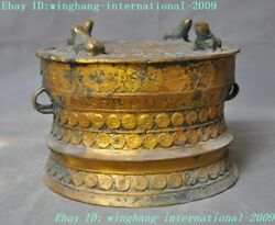 7chinese Dynasty Bronze Ware Gilt Frog Gold Toad Text Waist Drum Tambour Statue