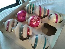 1950s Shiny Brite Vintage Christmas Ornaments Mica Trimmed Christmas Ornaments