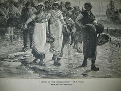 1874 Return Of The Oyster Fishers F. Perrin Paris Exhibit Wood Antique Print