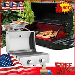 Tabletop Stainless Steel 2-burner Gas Grill Portable 2000 Btu Bbq Grid With Legs