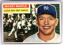1956 Topps Mickey Mantle 135 Vg-vgex Great Color Vintage 1950s Triple Crown
