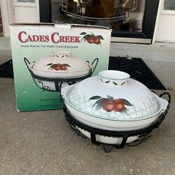 1 Wsp Stoneware Covered Casserole W/stand Cades Creek Collection Apple Pattern