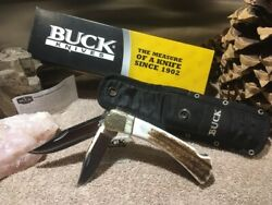 Buck 110 / 112 Knife - 2006 Elk Stag / Musk Ox Filed Dimpled Nos
