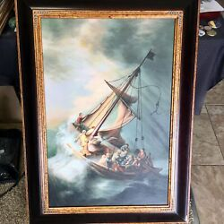 Rembrandt Storm On The Sea Of Galilee Framed Oil Reproduction - Us Seller