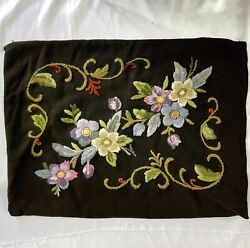 """Vintage Black Embroidered Floral Pillow Cover 22""""x17"""" Flowers Zip Case"""