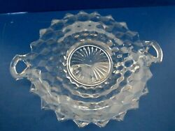 Fostoria Glass Clear Pressed Glass Handled Cake Plate American Made Antique 10