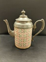 Apple Blossom Pattern Enamelware And Pewter Coffee Pot W/ Pink Background