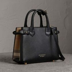 Baby Banner Tote House Check Derby Crossbody Bag Black Leather New