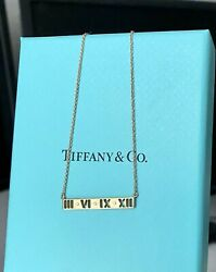 And Co Atlas Rose Gold Bar Diamond Necklace Pendant 16-18in Discontinued