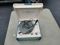 Vintage Sears Silvertone Turntable Phonograph Record Player Blue White Untested