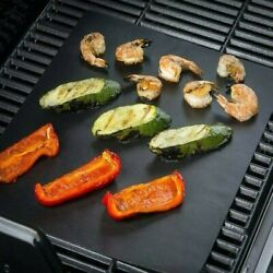 5x Bbq Grill Mat Non-stick Oven Liners Cooking Baking Reusable Sheet Pads