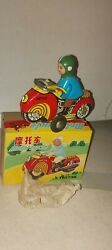 Red China Motorcycle Tin Toy Vintage Friction