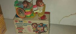 Red China Happy Monkey  Tin Toy Battery Operated Vintage