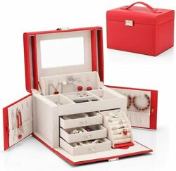 Vlando Mirrored Jewelry Box Girls Women Vintage Gift Case Red Faux Leather