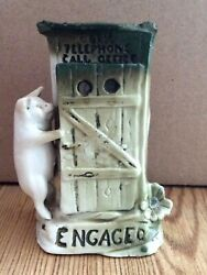 Antique German Fairing Porcelain Pig Engaged Telephone Call Office 1890-20