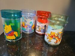 Vintage Winnie The Pooh Water Glitter Plastic Cups Lot Of 4