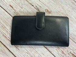 Buxton Leather Tab Checkbook Cover amp; Credit Card Zippered Holder Bill Wallet $15.95