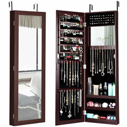 Mirrored Jewelry Cabinet Armoire Storage Organizer Wall Door Mounted Brown New