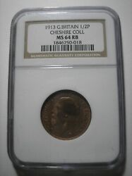 Sba67 Great Britain 1913 1/2 Penny Cheshire Collection Ngc Ms64 Rb