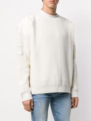 Amiri Menand039s Military Patch Crewneck White Sweater Pullover Nwt Size Xxl