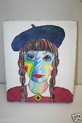 Abstract Original Acrylic Painting Girl Scout Beret Unique Vintage Rare