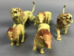 Lion Figure Toy Lot Of 5 Jungle Animals Hard Plastic Vicious Attack Gift
